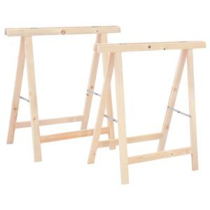 vidaXL Folding Sawhorses 2 pcs Pinewood