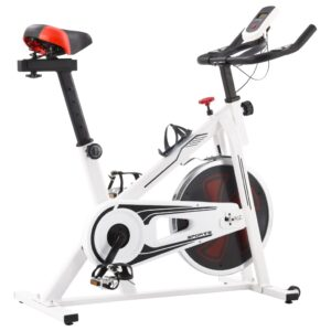vidaXL Exercise Spinning Bike with Pulse Sensors White and Red