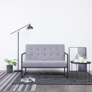 vidaXL 2-Seater Sofa with Armrests Light Grey Steel and Fabric