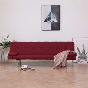 vidaXL Sofa Bed with Two Pillows Wine Red Fabric