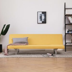 vidaXL Sofa Bed Yellow Fabric
