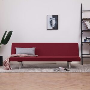 vidaXL Sofa Bed Wine Red Fabric