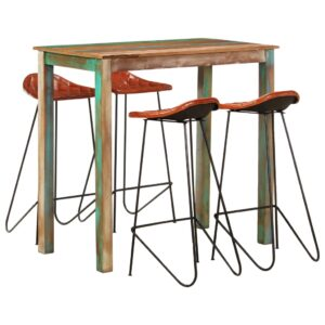 vidaXL 5 Piece Bar Set Solid Reclaimed Wood and Real Leather