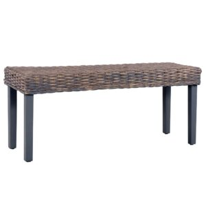 vidaXL Bench 110 cm Grey Natural Kubu Rattan and Solid Mango Wood
