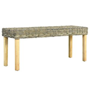 vidaXL Bench 110 cm Natural Kubu Rattan and Solid Mango Wood