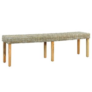 vidaXL Bench 160 cm Natural Kubu Rattan and Solid Mango Wood
