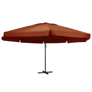 47375 vidaXL Outdoor Parasol with Aluminium Pole 600 cm Terracotta