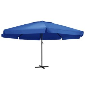 47377 vidaXL Outdoor Parasol with Aluminium Pole 600 cm Azure Blue