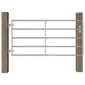 vidaXL 5 Bar Field Gate Steel (95-170)x90 cm Silver