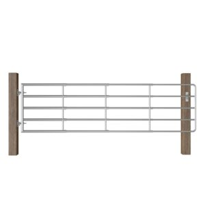 vidaXL 5 Bar Field Gate Steel (115-300)x90 cm Silver