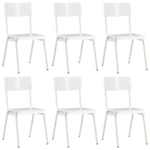 vidaXL Dining Chairs 6 pcs White Plywood