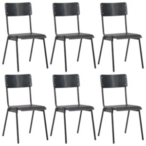 vidaXL Dining Chairs 6 pcs Black Plywood