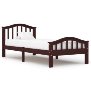vidaXL Bed Frame Dark Brown Solid Pinewood 90×200 cm