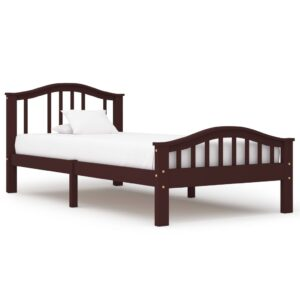 vidaXL Bed Frame Dark Brown Solid Pinewood 100×200 cm
