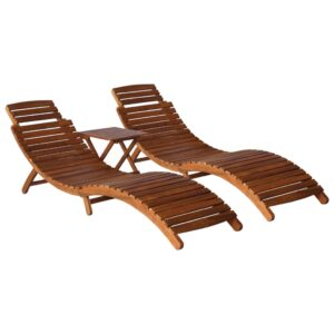 vidaXL 3 Piece Sunlounger with Tea Table Solid Acacia Wood