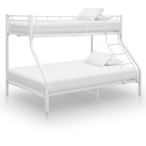 vidaXL Bunk Bed Frame White Metal 140×200 cm/90×200 cm