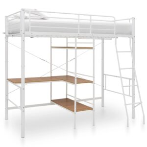 vidaXL Bunk Bed with Table Frame White Metal 90×190 cm