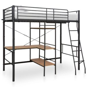 vidaXL Bunk Bed with Table Frame Grey Metal 90×190 cm