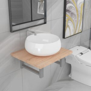 vidaXL Two Piece Bathroom Furniture Set Ceramic Oak
