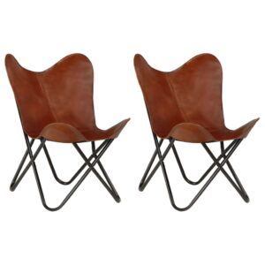 vidaXL Butterfly Chairs 2 pcs Brown Kids Size Real Leather