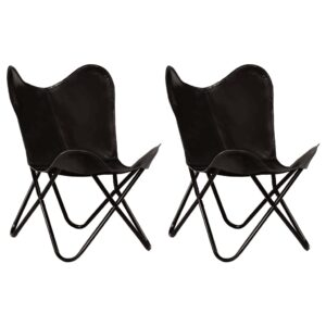 vidaXL Butterfly Chairs 2 pcs Black Kids Size Real Leather