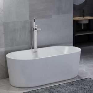 vidaXL Freestanding Bathtub and Faucet 204 L 110 cm Silver