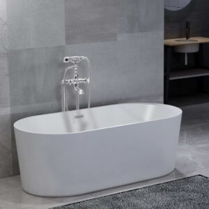 vidaXL Freestanding Bathtub and Faucet 204 L 99,5 cm Silver