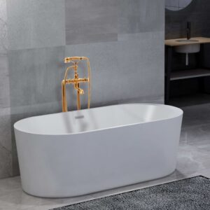 vidaXL Freestanding Bathtub and Faucet 204 L 99,5 cm Gold
