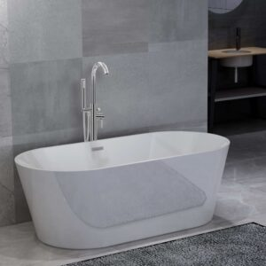 vidaXL Freestanding Bathtub and Faucet 220 L 118,5 cm Silver