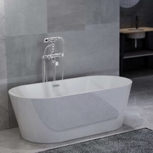 vidaXL Freestanding Bathtub and Faucet 220 L 99,5 cm Silver