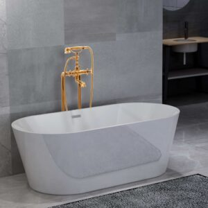 vidaXL Freestanding Bathtub and Faucet 220 L 99,5 cm Gold