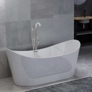 vidaXL Freestanding Bathtub and Faucet 204 L 118,5 cm Silver
