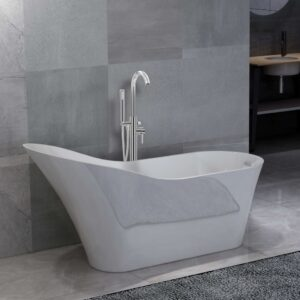 vidaXL Freestanding Bathtub and Faucet 210 L 118,5 cm Silver