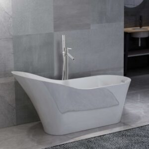 vidaXL Freestanding Bathtub and Faucet 210 L 110 cm Silver
