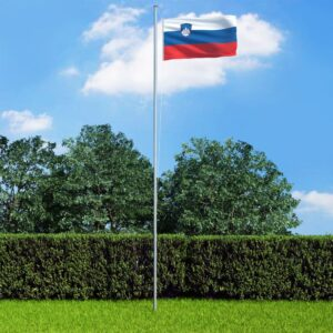 vidaXL Slovenia Flag and Pole Aluminium 6,2 m