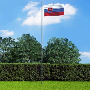 vidaXL Slovakia Flag and Pole Aluminium 6,2 m