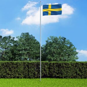vidaXL Sweden Flag and Pole Aluminium 6,2 m