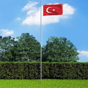 vidaXL Turkey Flag and Pole Aluminium 6,2 m