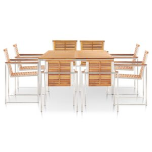 vidaXL 9 Piece Dining Set Solid Acacia Wood and Stainless Steel