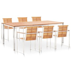 vidaXL 7 Piece Dining Set Solid Acacia Wood and Stainless Steel