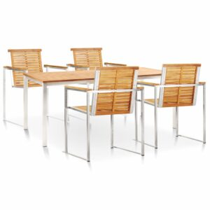 vidaXL 5 Piece Garden Dining Set Solid Teak Wood and Stainless Steel