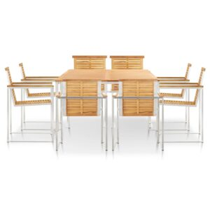 vidaXL 9 Piece Garden Dining Set Solid Teak Wood and Stainless Steel