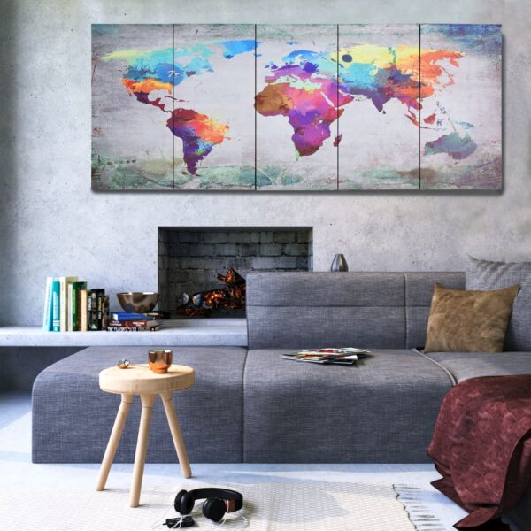 vidaXL Canvas Wall Print Set World Map Multicolour 200×80 cm