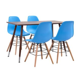 vidaXL 5 Piece Dining Set Plastic Blue
