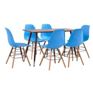 vidaXL 7 Piece Dining Set Plastic Blue