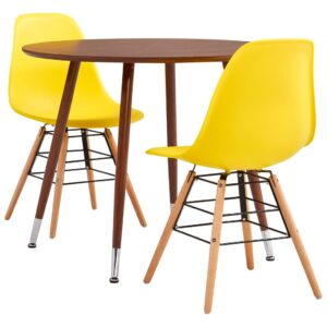 vidaXL 3 Piece Dining Set Plastic Yellow