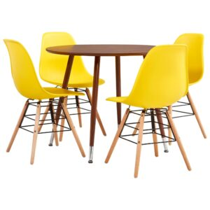 vidaXL 5 Piece Dining Set Plastic Yellow