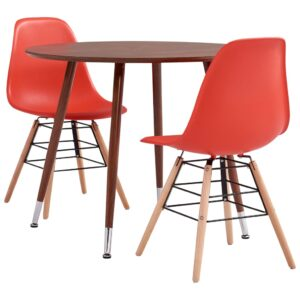 vidaXL 3 Piece Dining Set Plastic Red