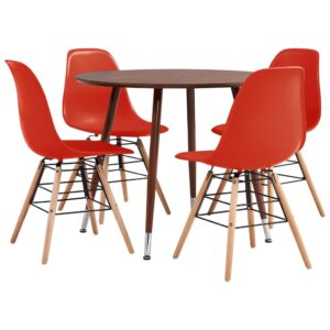 vidaXL 5 Piece Dining Set Plastic Red