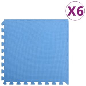 vidaXL Floor Mats 6 pcs 2.16 ㎡ EVA Foam Blue